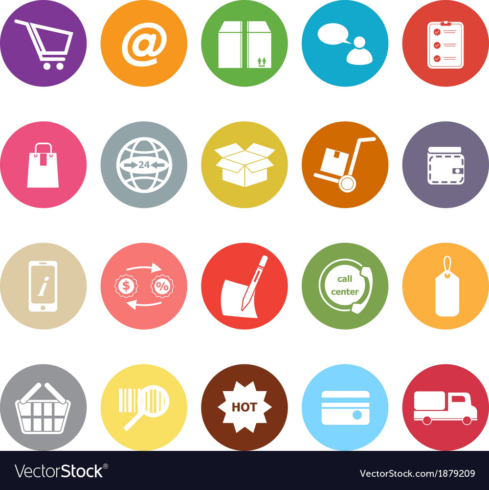 Ecommerce flat icons on white background vector | Price: 1 Credit (USD $1)
