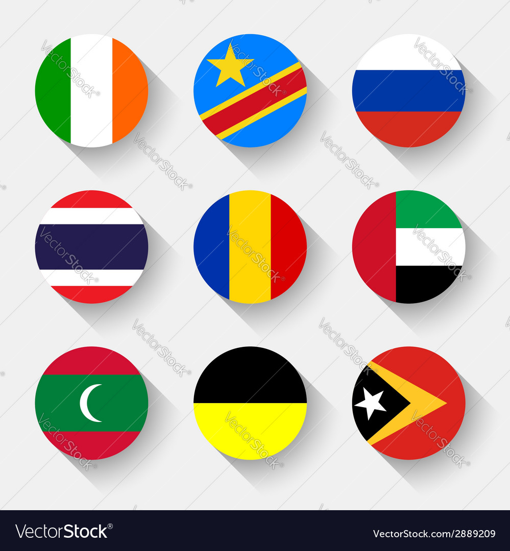 Flags of the world round buttons vector | Price: 1 Credit (USD $1)