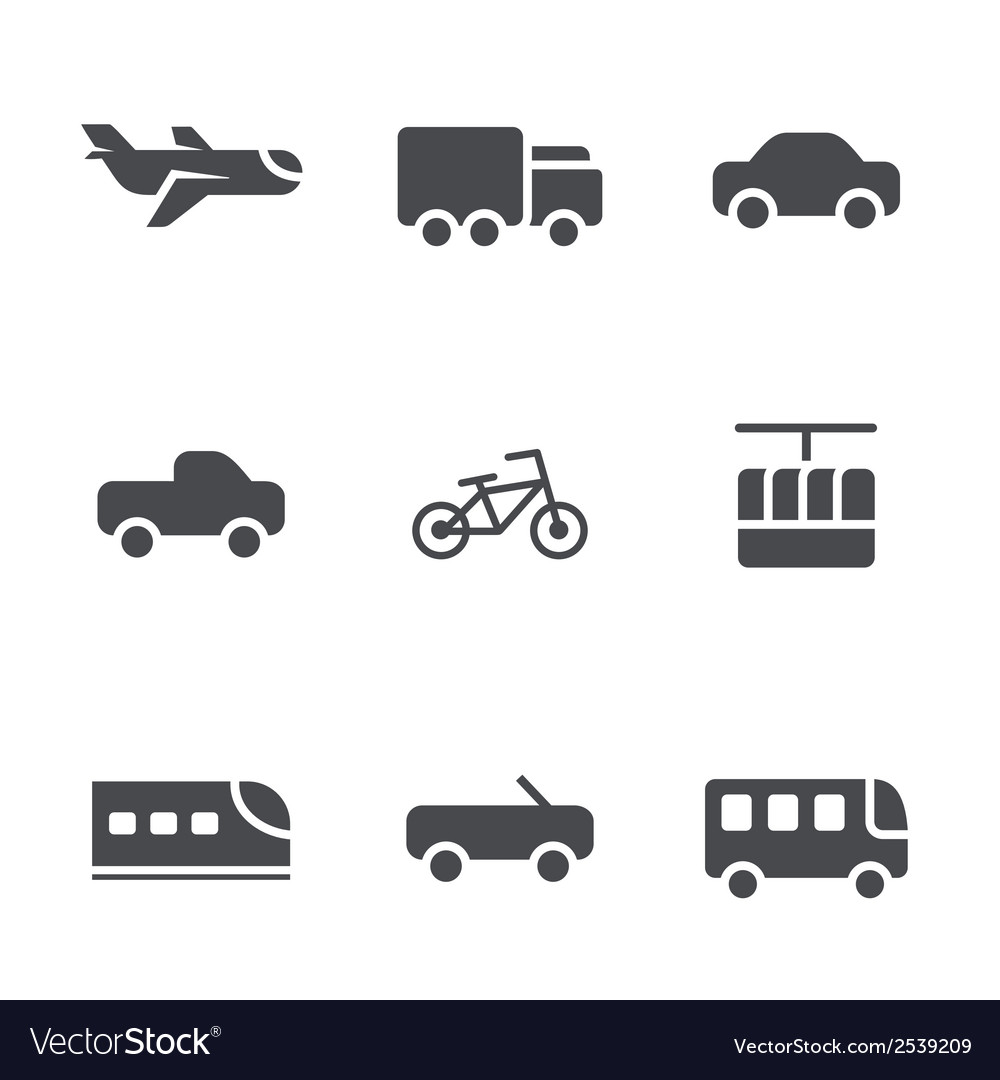 Modes of transport icons set vector | Price: 1 Credit (USD $1)