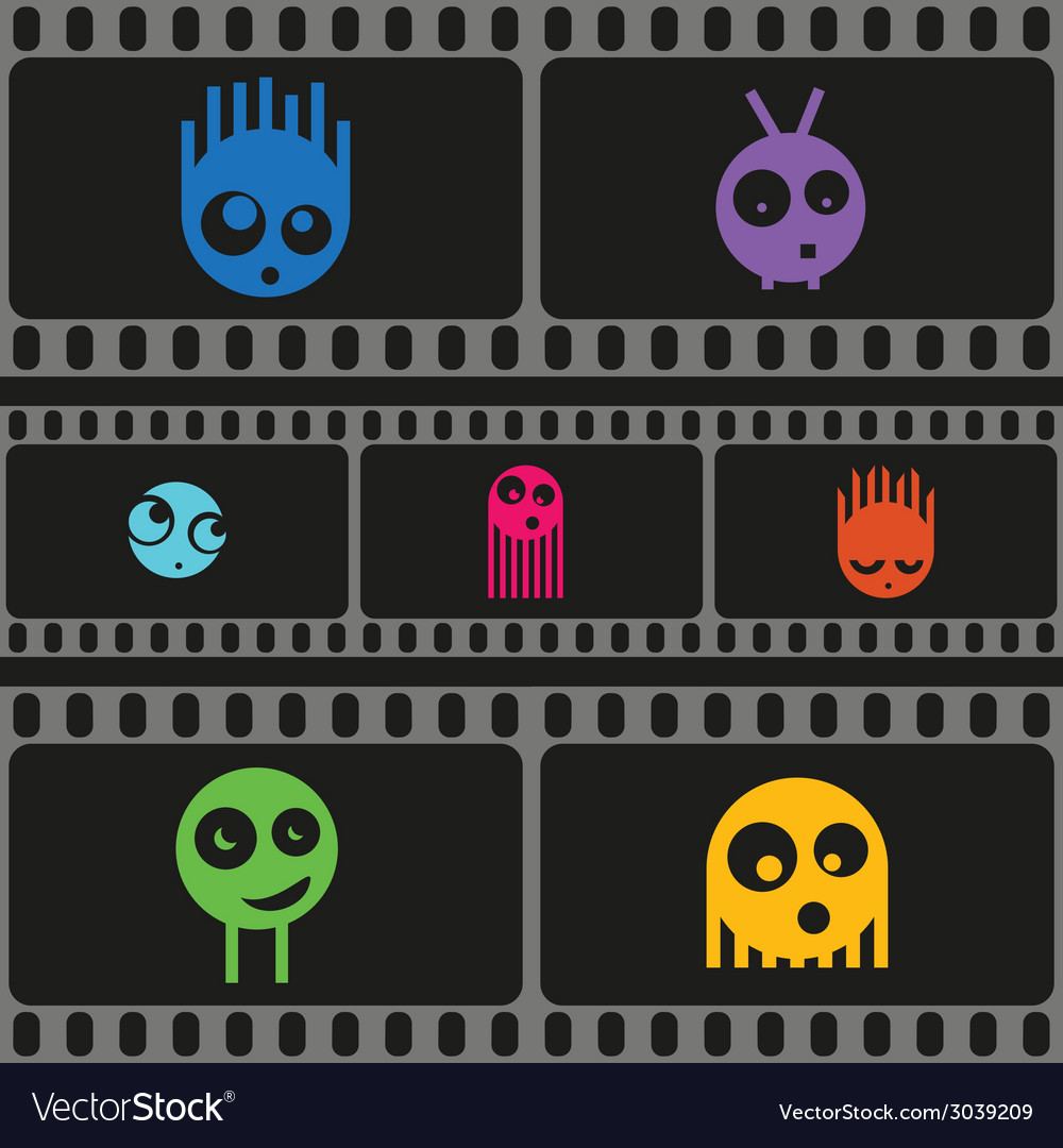 Monsters and film strip seamless pattern vector   Price: 1 Credit (USD $1)