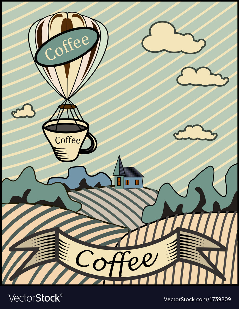 Retro banner with a cup of coffee vector | Price: 1 Credit (USD $1)