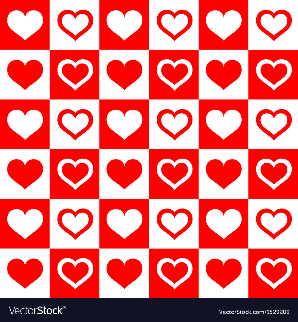 Seamless red white hearts vector | Price: 1 Credit (USD $1)