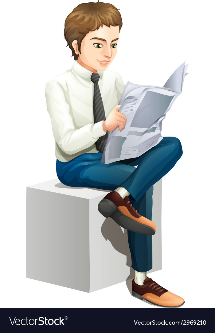 A man reading a newspaper vector | Price: 1 Credit (USD $1)