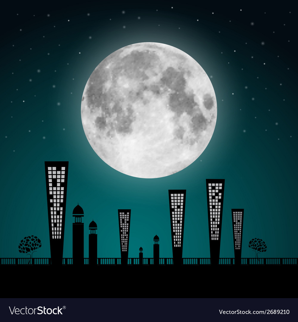 Abstract full moon landscape vector | Price: 1 Credit (USD $1)