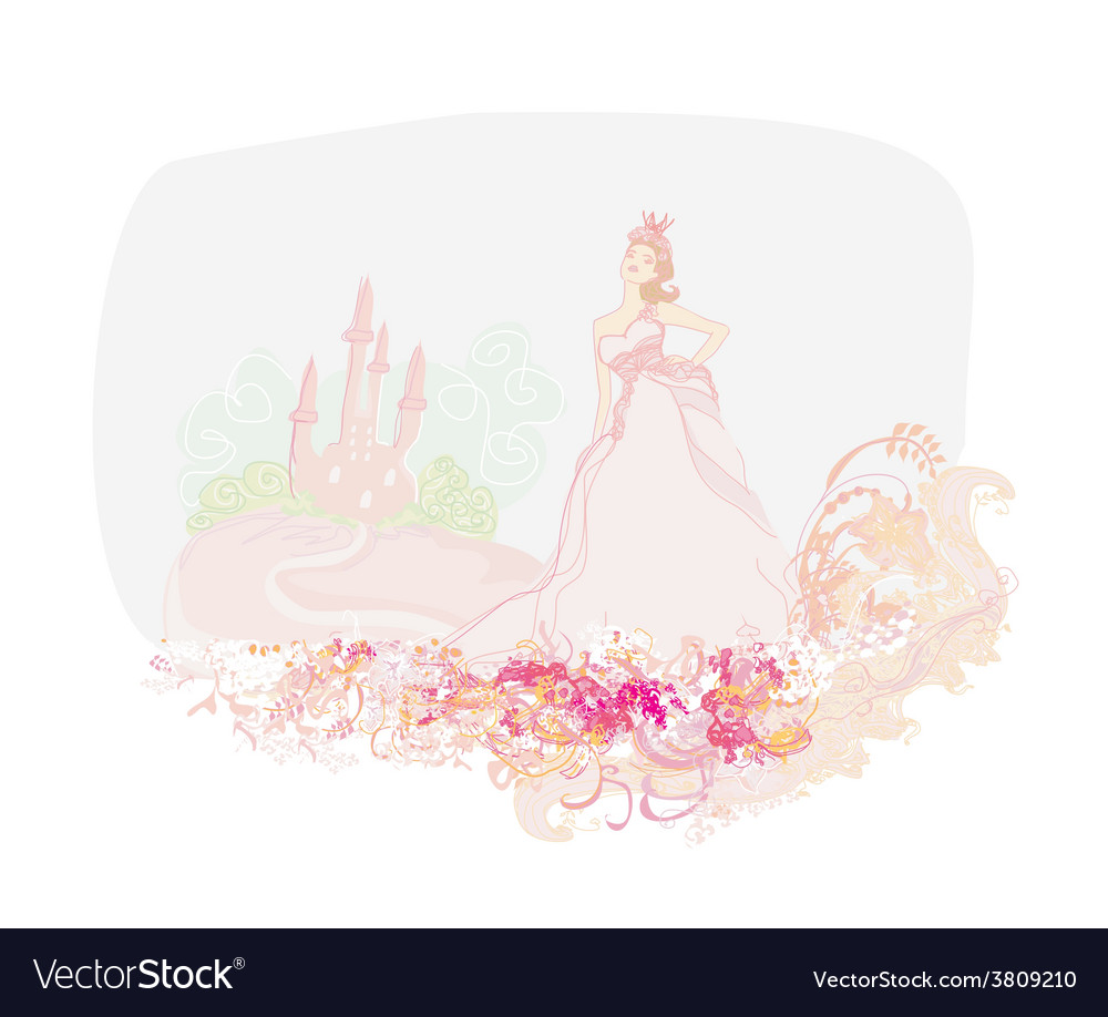Beautiful young princess in front of her castle vector | Price: 1 Credit (USD $1)