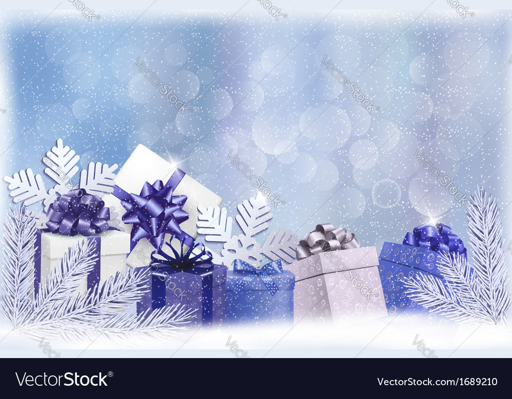 Christmas blue background with gift boxes and vector | Price: 1 Credit (USD $1)