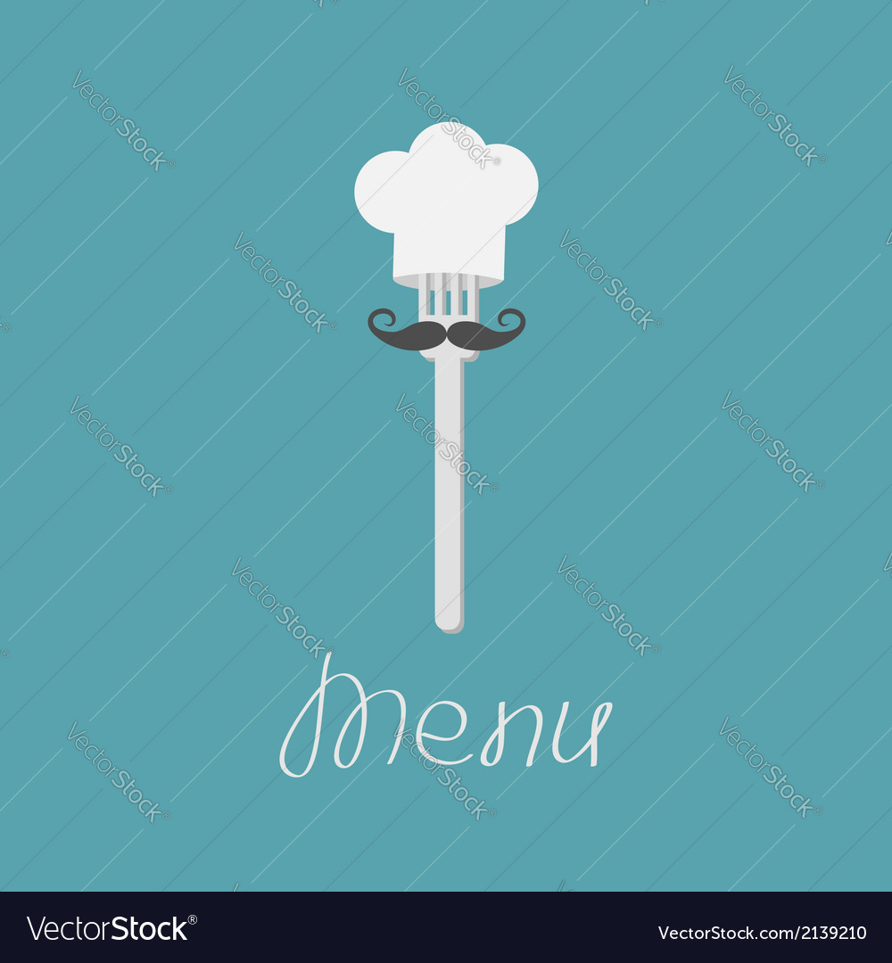 Fork with big mustache and chef hat menu card vector | Price: 1 Credit (USD $1)