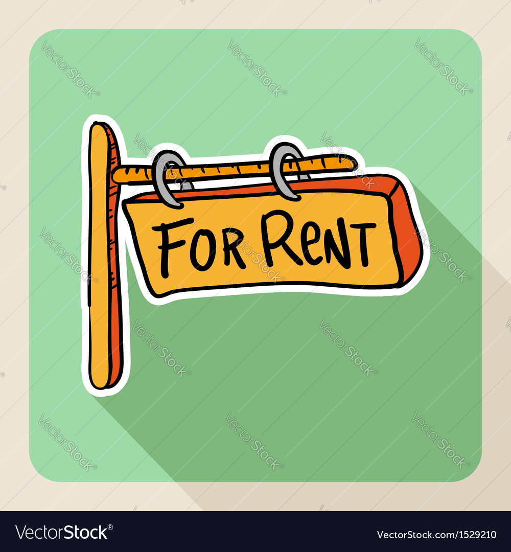 Hand drawn for rent post sign vector   Price: 1 Credit (USD $1)