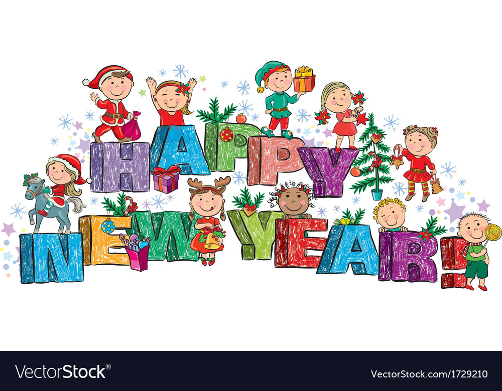 Happy new year kids on the letters vector | Price: 1 Credit (USD $1)