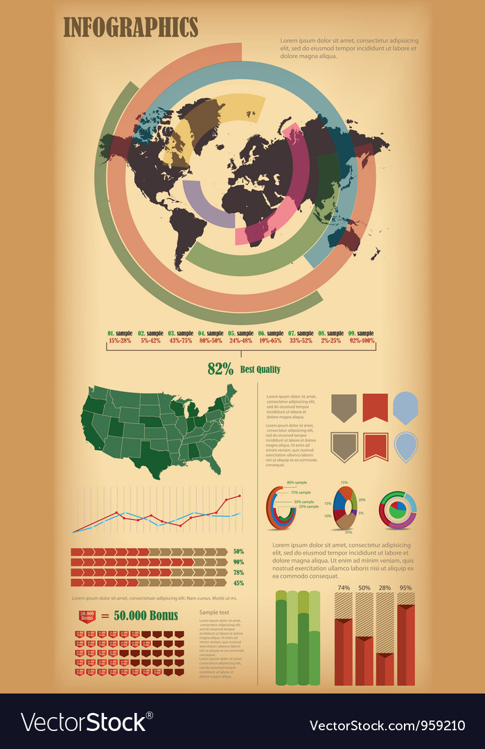 Infographic elements with world map vector | Price: 1 Credit (USD $1)