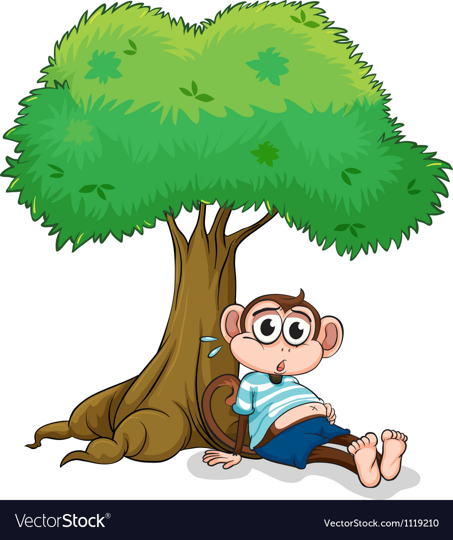 Monkey under a tree vector | Price: 1 Credit (USD $1)