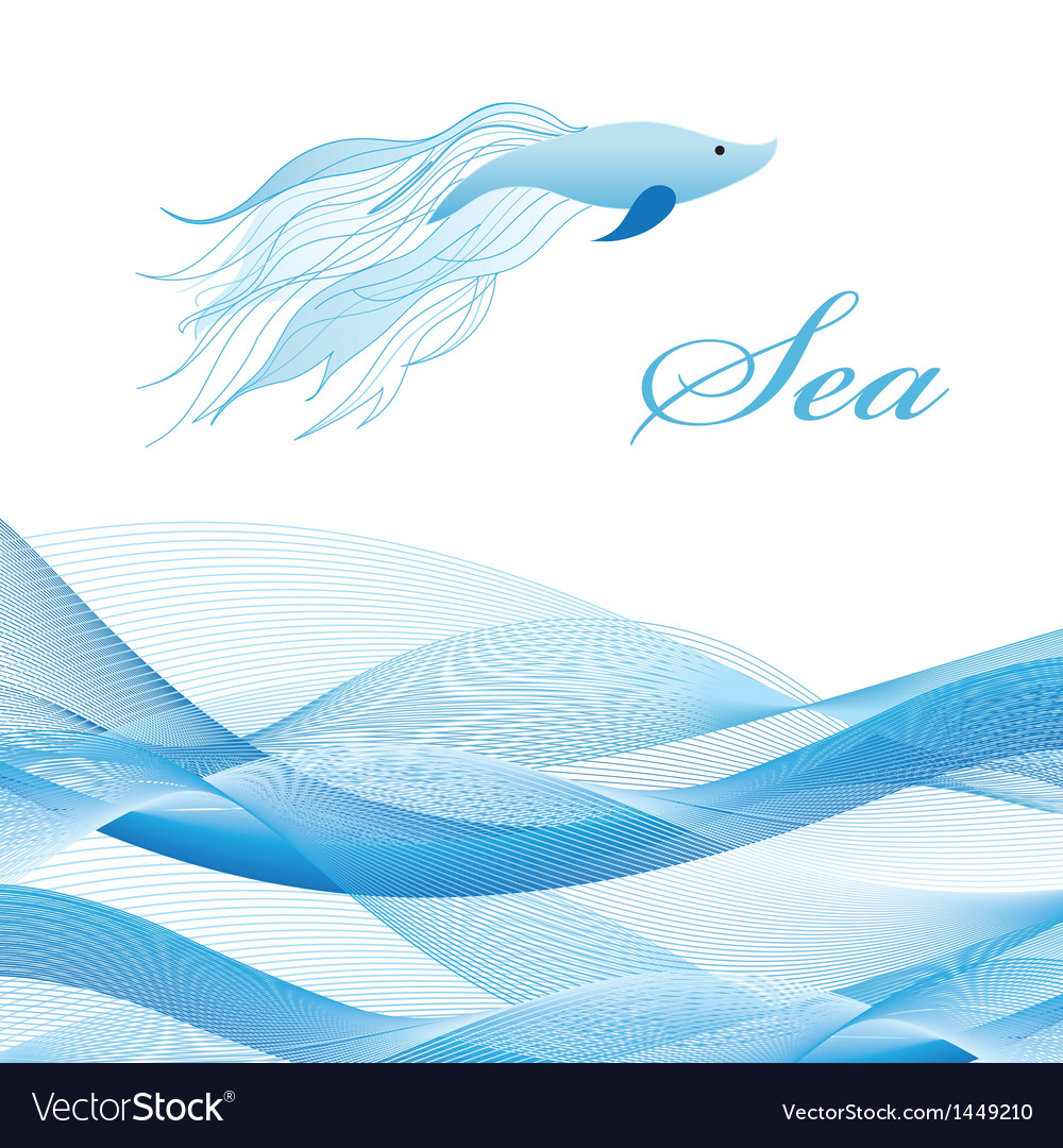Sea waves and fish vector | Price: 1 Credit (USD $1)