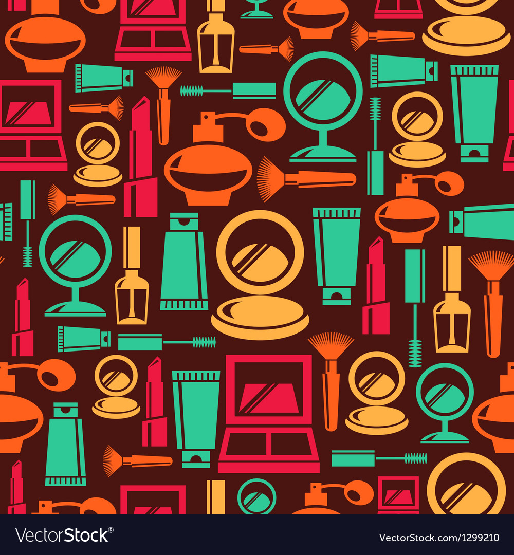 Seamless pattern with cosmetic icons vector | Price: 1 Credit (USD $1)