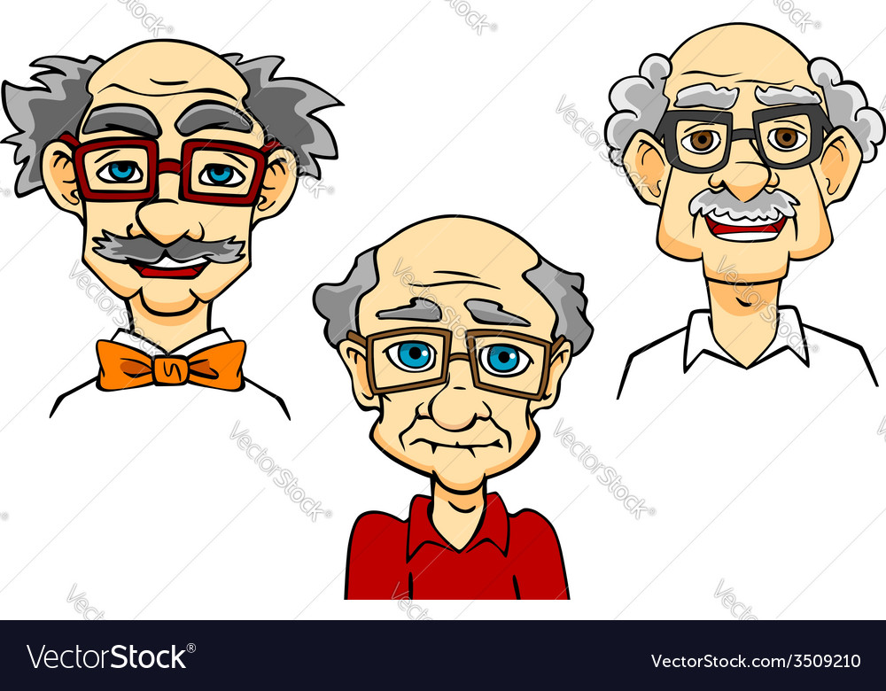 Senior men portraits collection vector | Price: 1 Credit (USD $1)