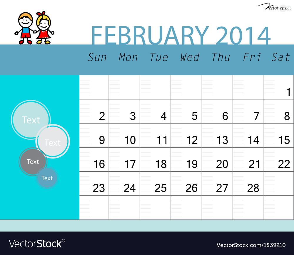 Simple 2014 calendar february vector | Price: 1 Credit (USD $1)