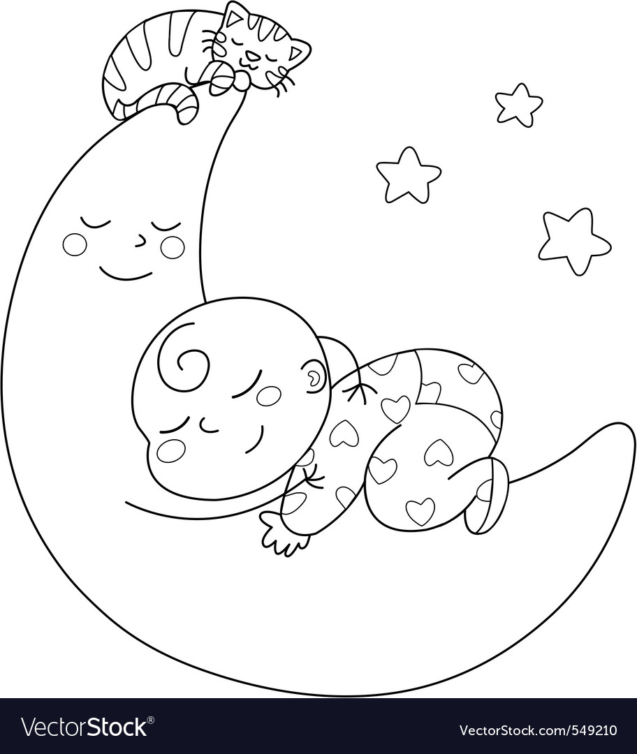Sleeping baby vector | Price: 1 Credit (USD $1)