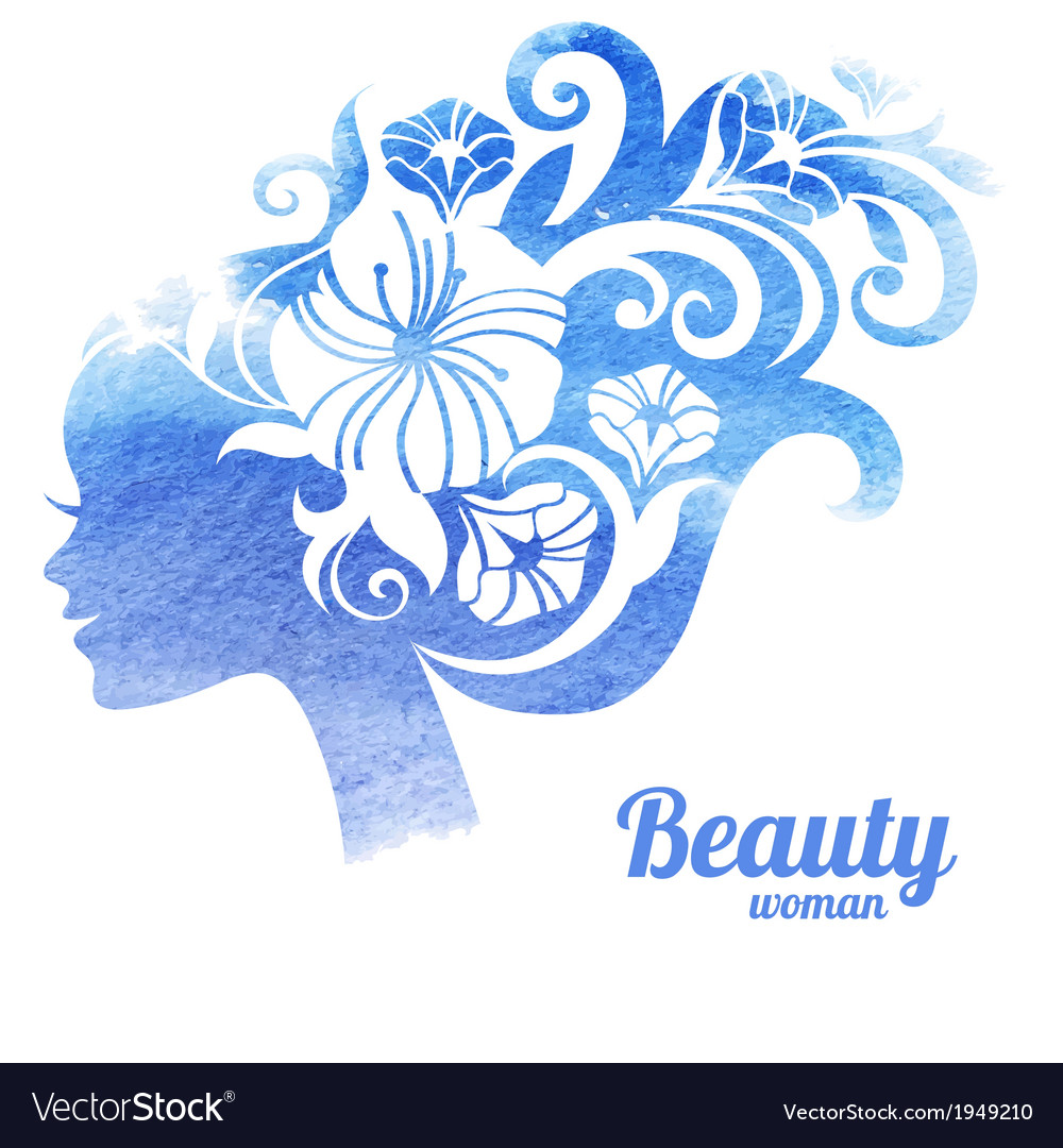 Watercolor beautiful woman silhouette with flowers vector | Price: 1 Credit (USD $1)