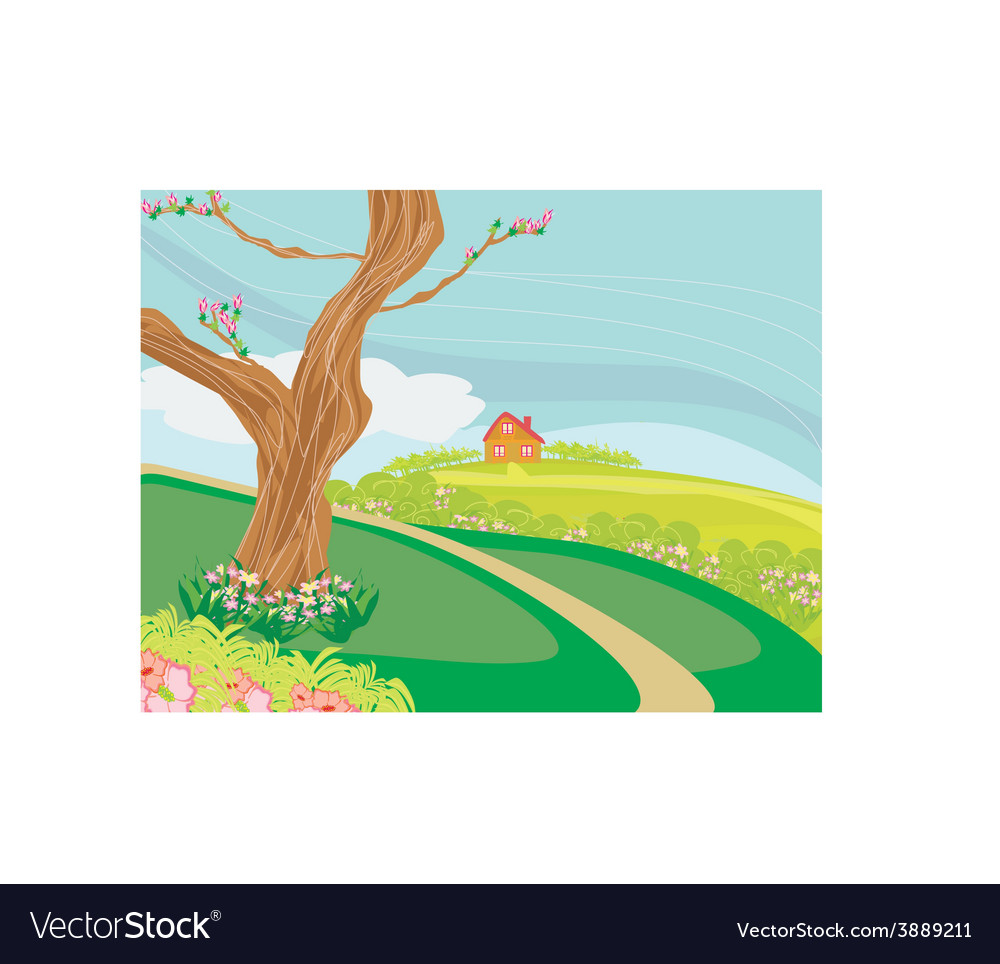 A peaceful village in spring vector | Price: 1 Credit (USD $1)