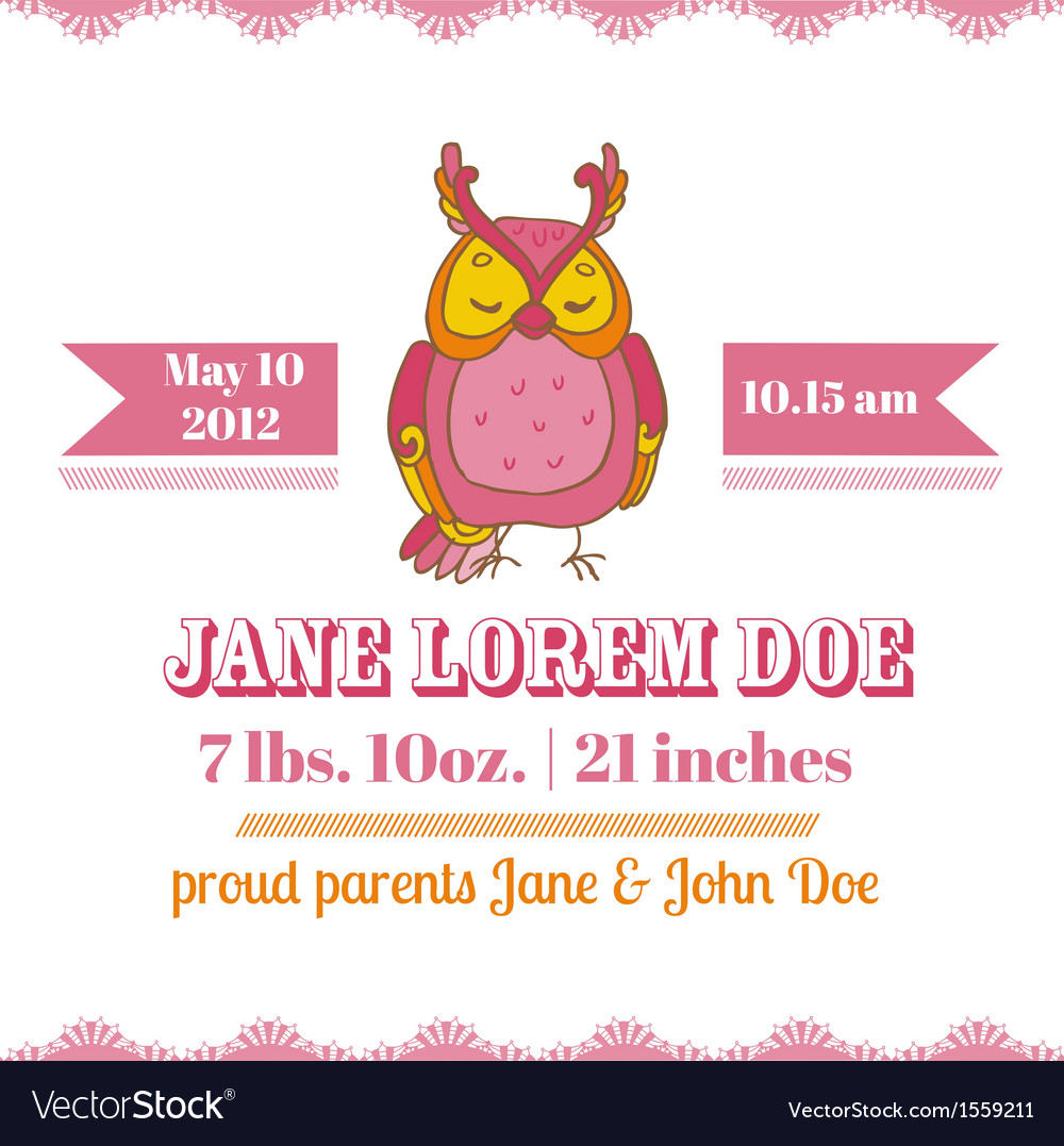 Baby shower or arrival cards - owl theme vector | Price: 1 Credit (USD $1)