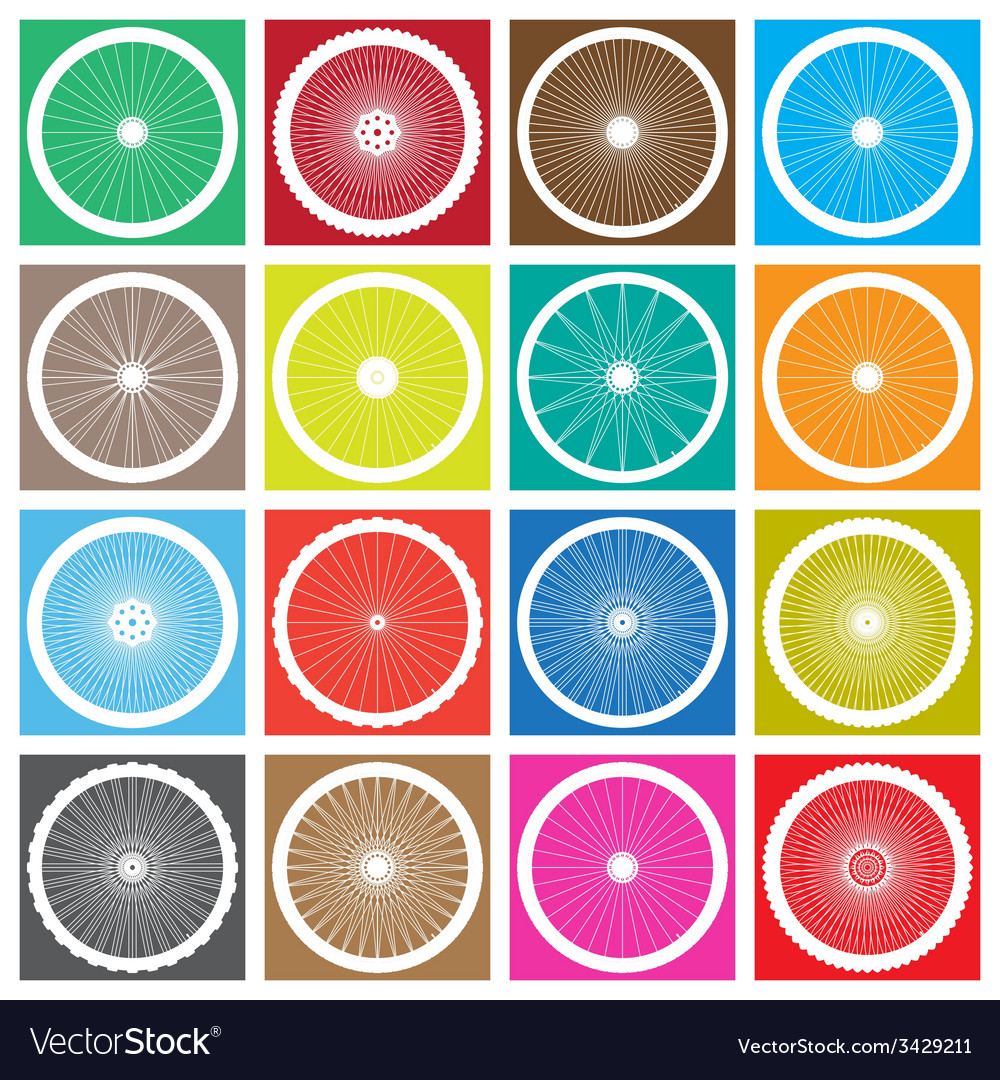 Bicycle wheel icon set vector | Price: 1 Credit (USD $1)