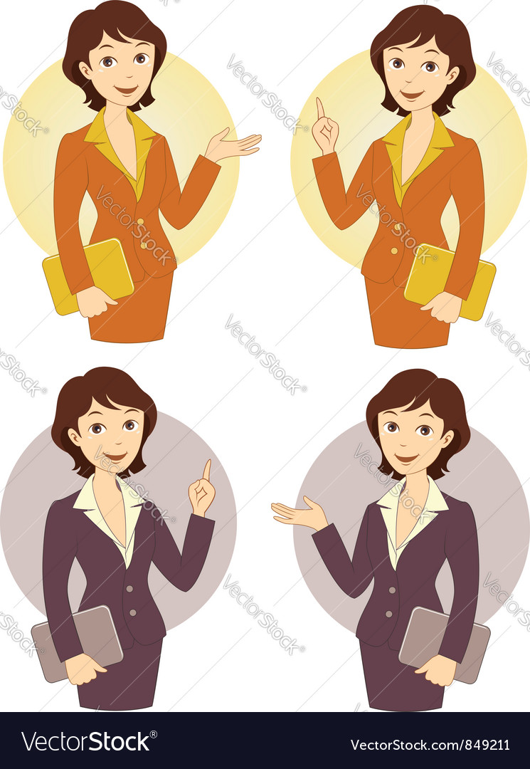 Cartoon businesswoman set vector | Price:  Credit (USD $)