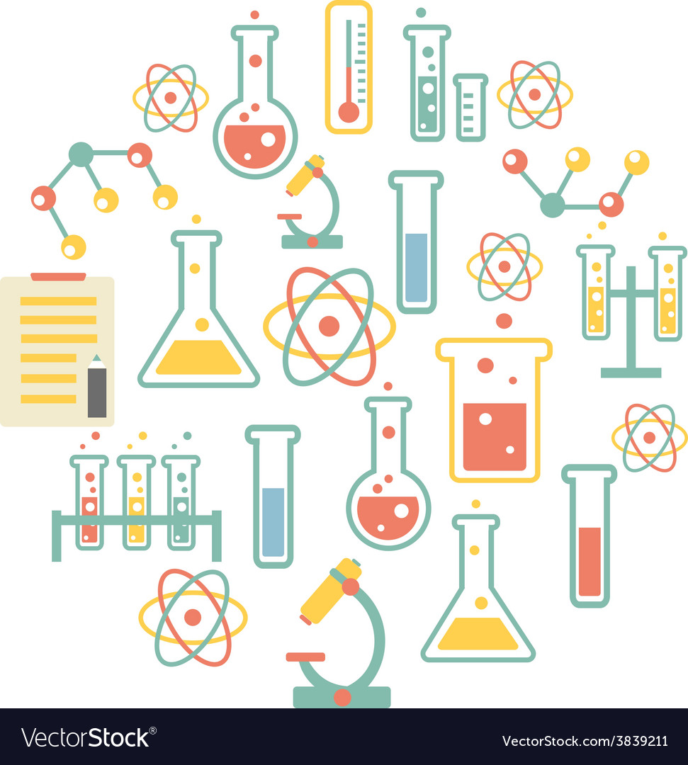 Chemistry icons background vector | Price: 1 Credit (USD $1)