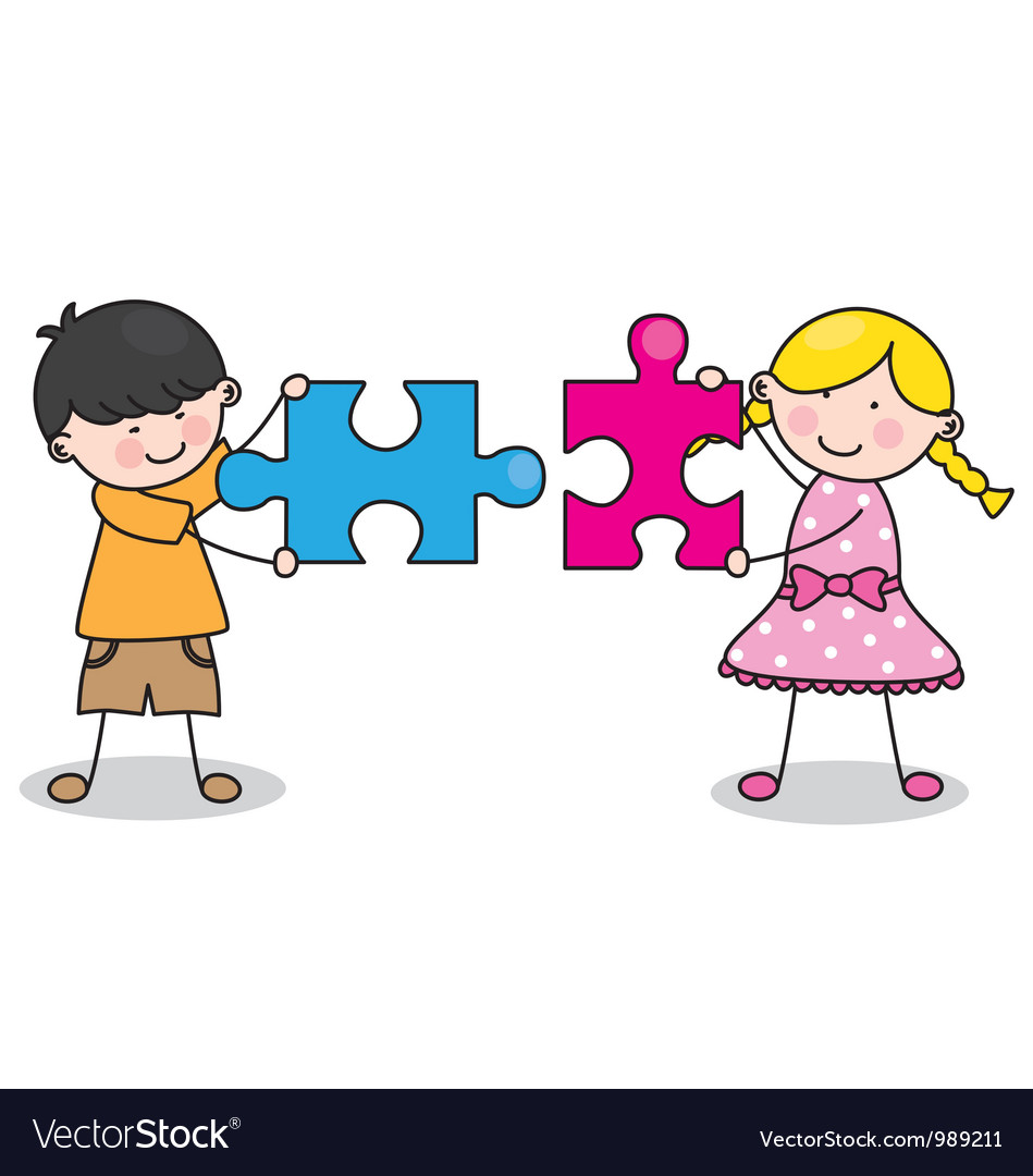 Child with puzzle pieces vector | Price: 1 Credit (USD $1)