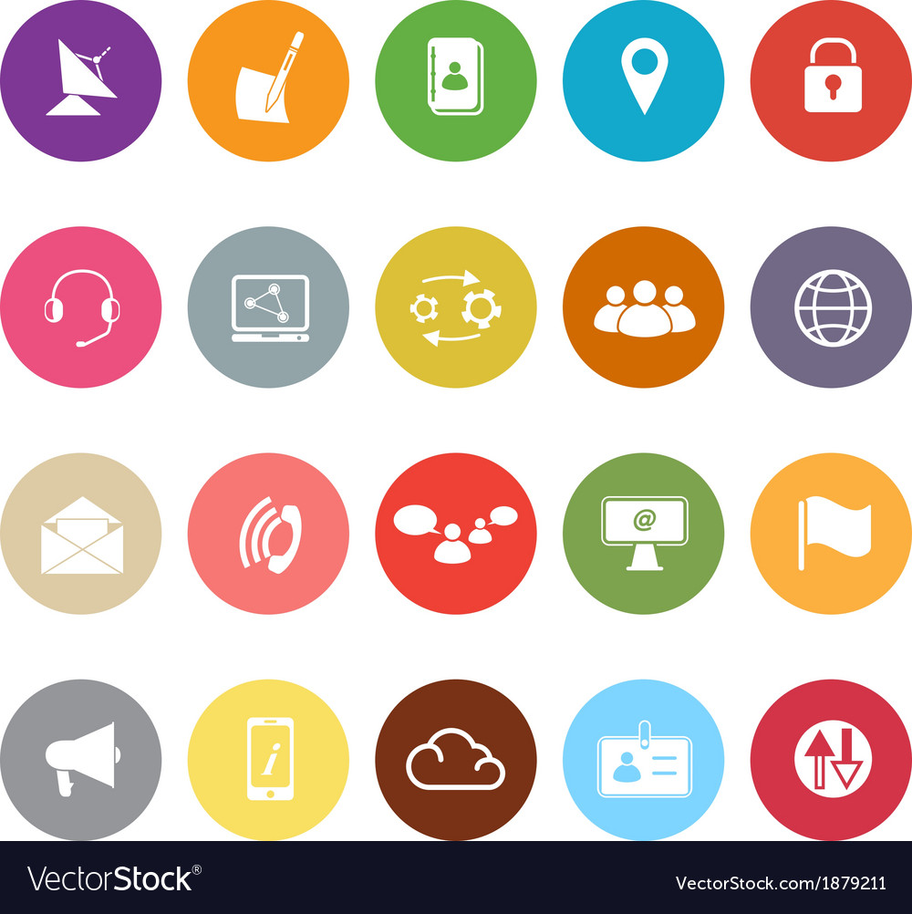 Communication flat icons on white background vector | Price: 1 Credit (USD $1)