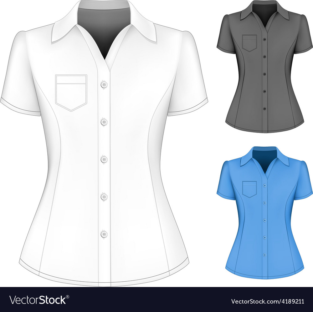 Formal short sleeved blouses for lady vector | Price: 1 Credit (USD $1)