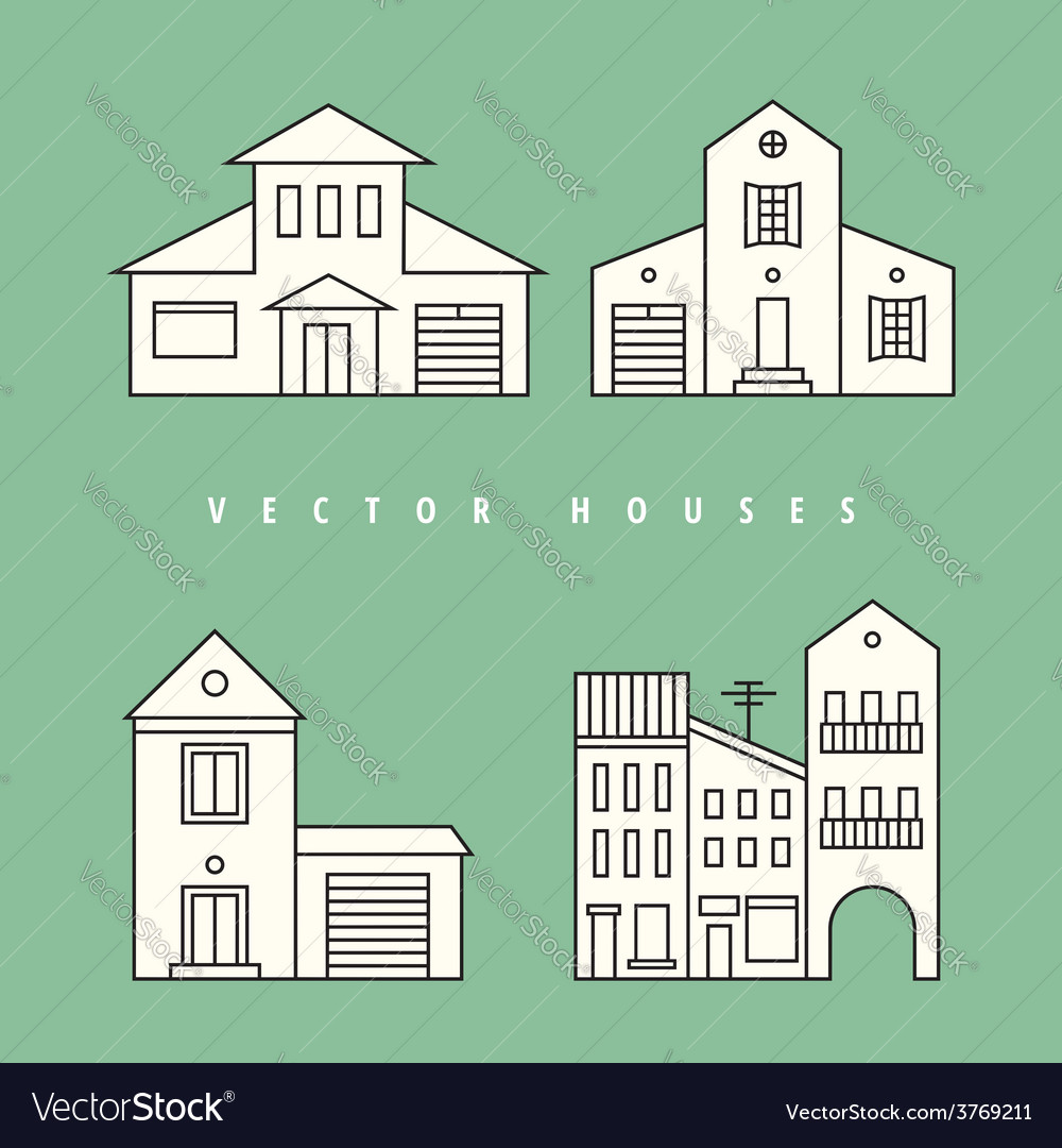 Houses set isolated elements for design vector   Price: 1 Credit (USD $1)