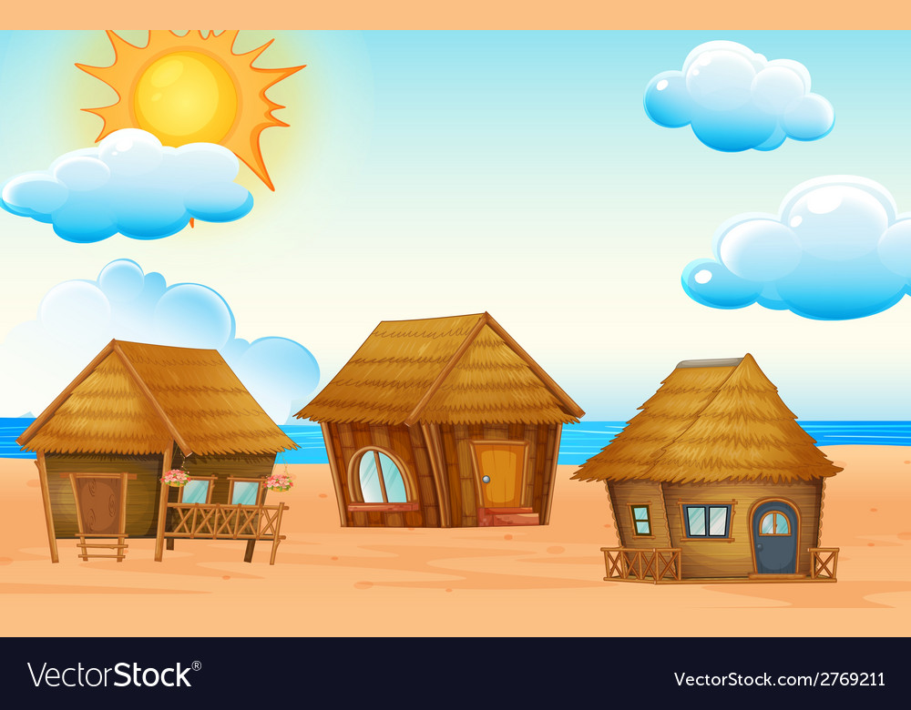 Huts on beach vector | Price: 1 Credit (USD $1)