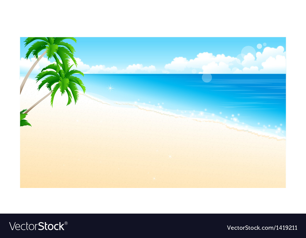 Idyllic beach palm tree vector | Price: 1 Credit (USD $1)