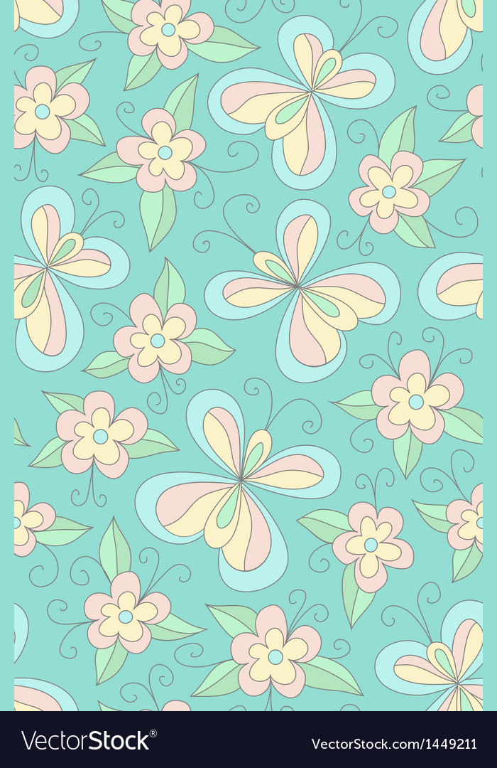 Seamles floral green pattern vector | Price: 1 Credit (USD $1)