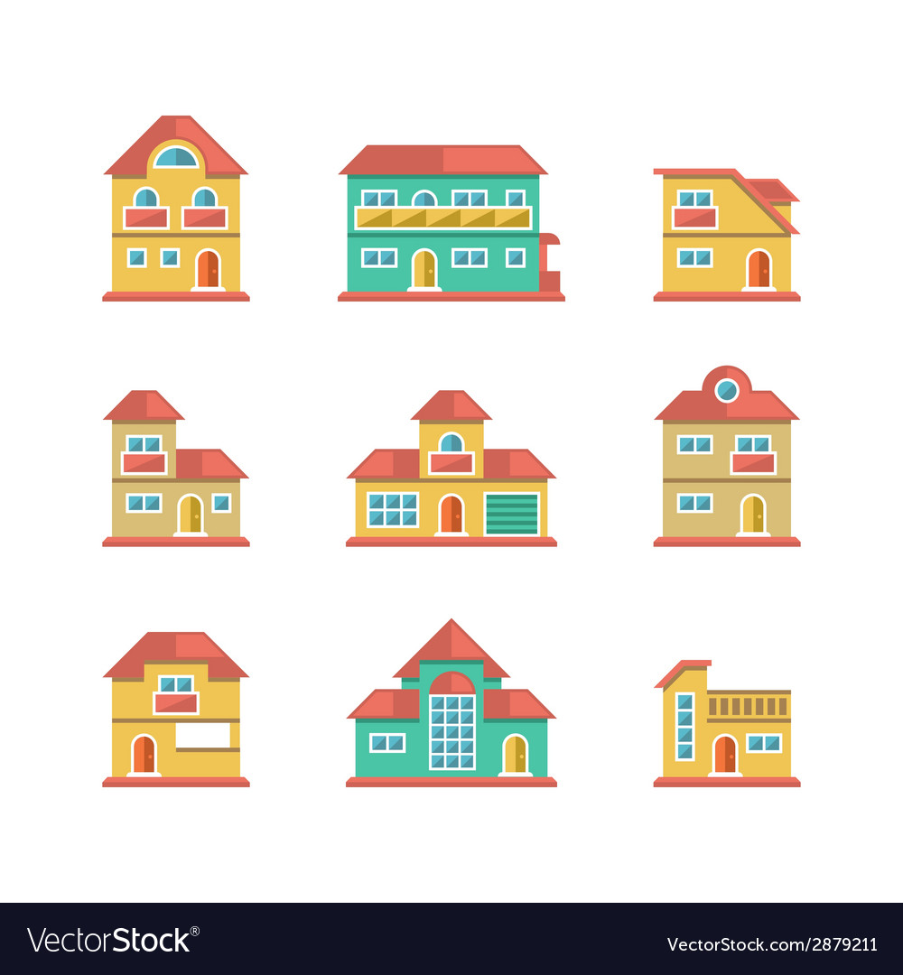 Set flat icons of houses and buildings vector | Price: 1 Credit (USD $1)