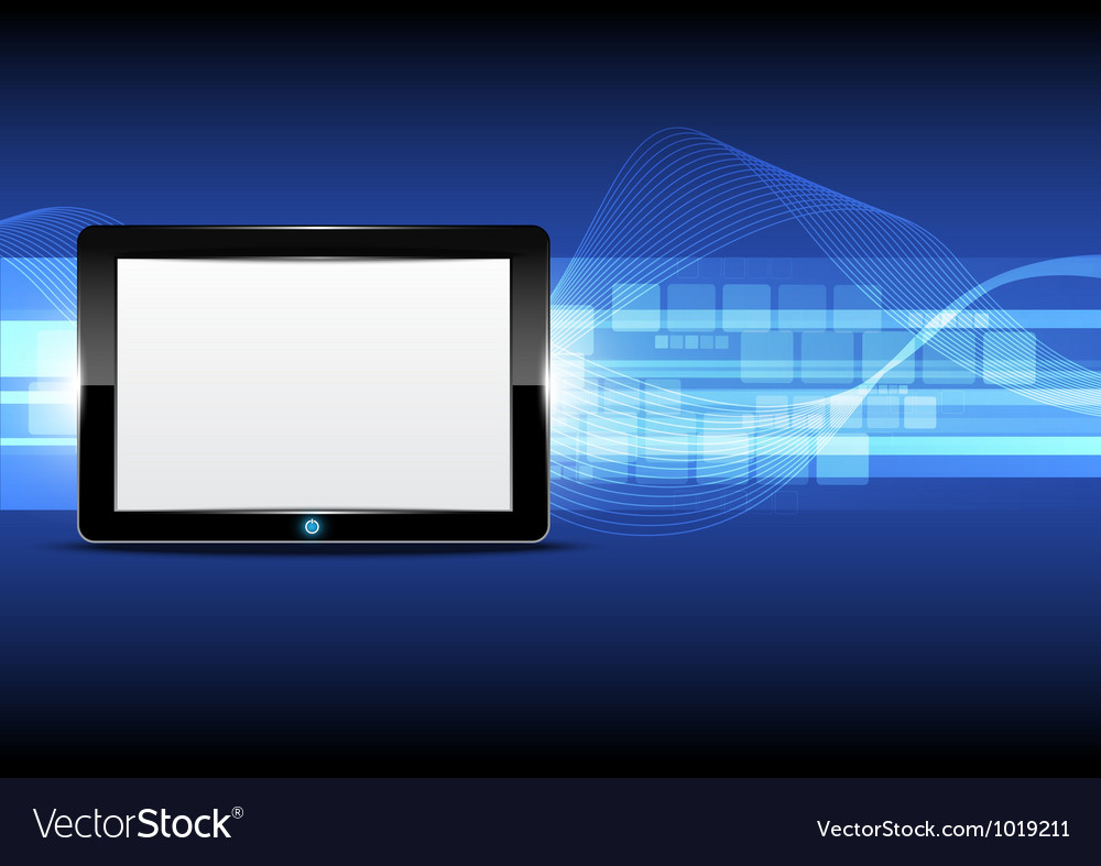 Tablet computer with technology background vector | Price: 1 Credit (USD $1)