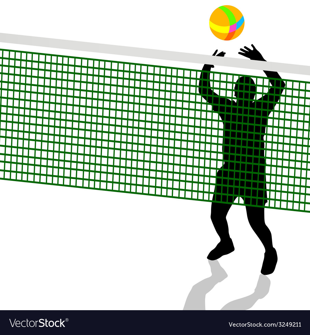 Volleyball player black silhouette vector | Price: 1 Credit (USD $1)