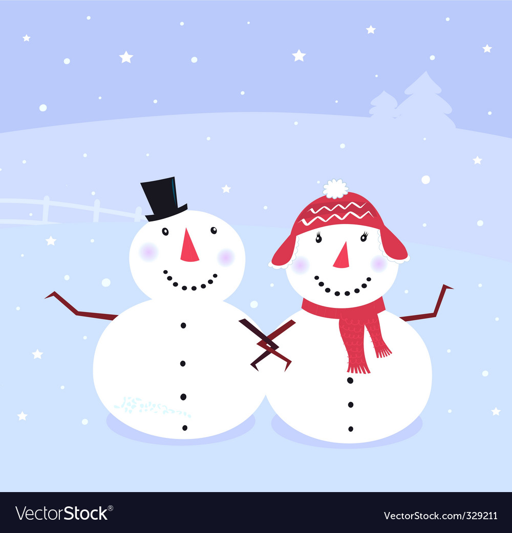 Winter snowman snowwoman vector