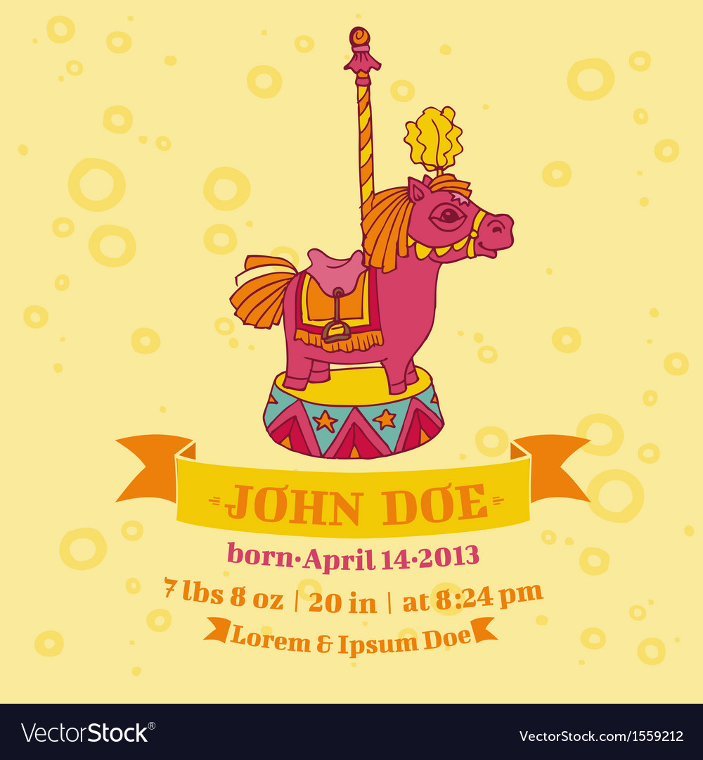 Baby shower or arrival cards - horse theme vector | Price: 1 Credit (USD $1)