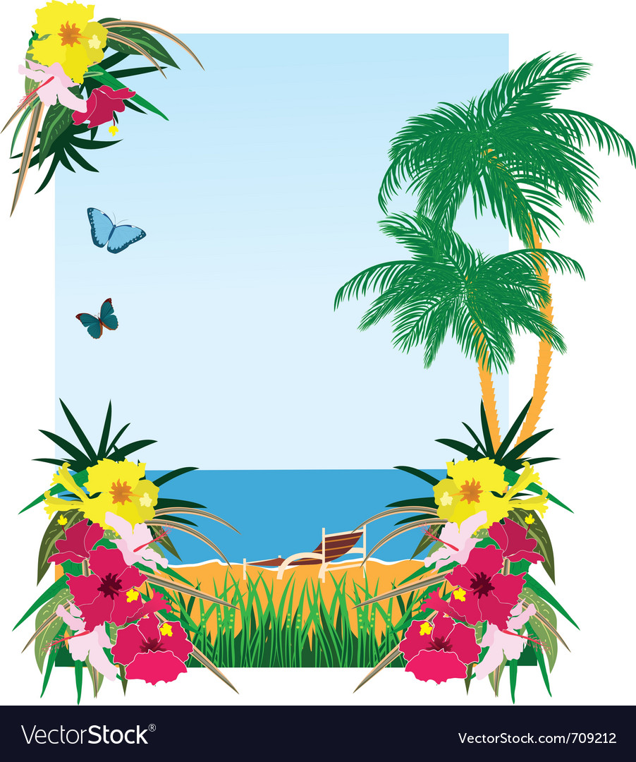 Background with tropical plants vector | Price: 1 Credit (USD $1)