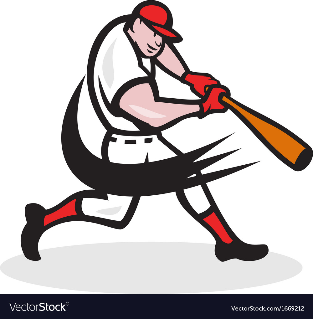 Baseball player batting isolated cartoon vector | Price: 1 Credit (USD $1)