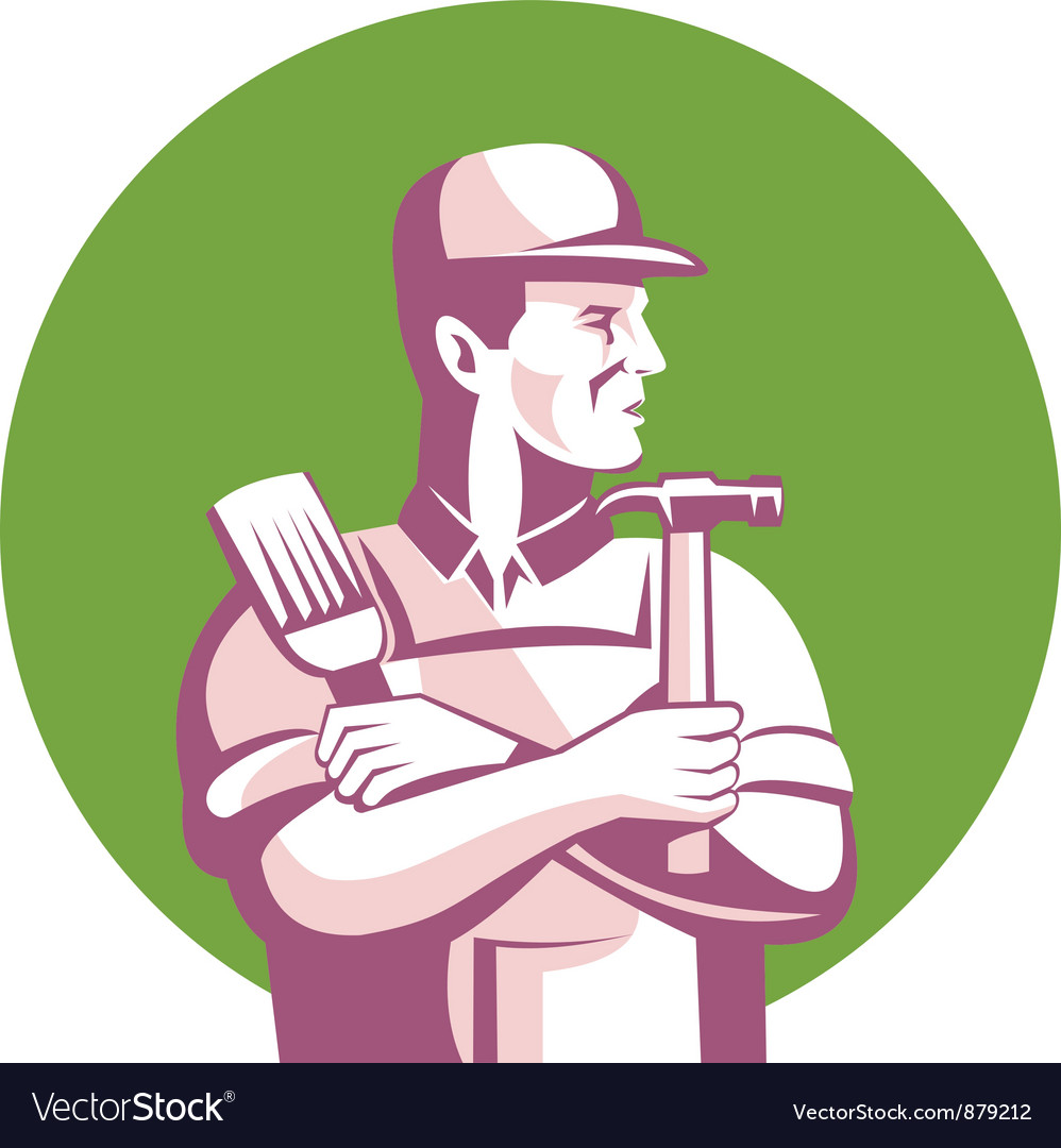 Carpenter painter construction vector | Price: 1 Credit (USD $1)