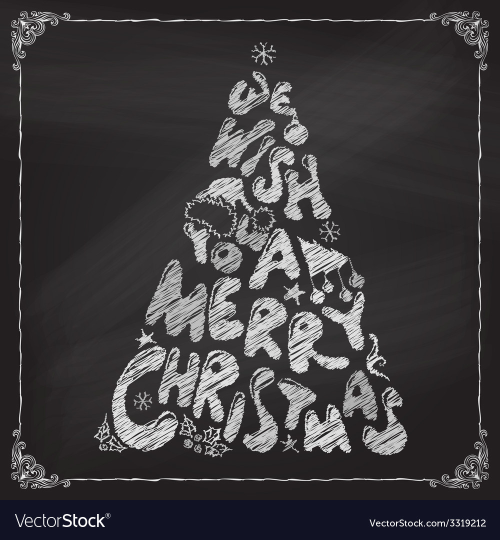 Chalk we wish you a merry christmas tree design vector | Price: 1 Credit (USD $1)