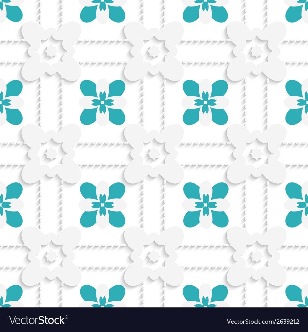 Dashed squares with green flowers pattern vector | Price: 1 Credit (USD $1)