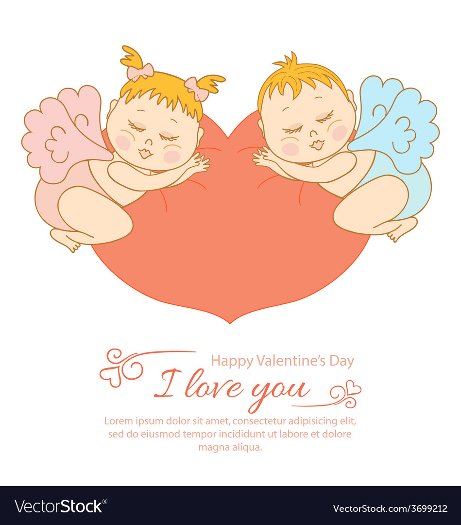 Postcard valentine is day with cupid vector | Price: 1 Credit (USD $1)