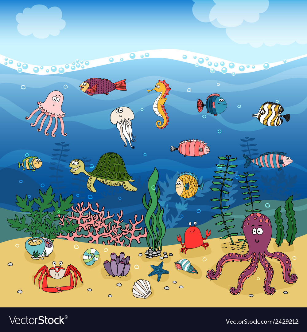 Underwater ocean life under the waves vector | Price: 1 Credit (USD $1)