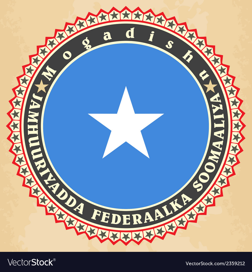 Vintage label cards of somalia flag vector | Price: 1 Credit (USD $1)