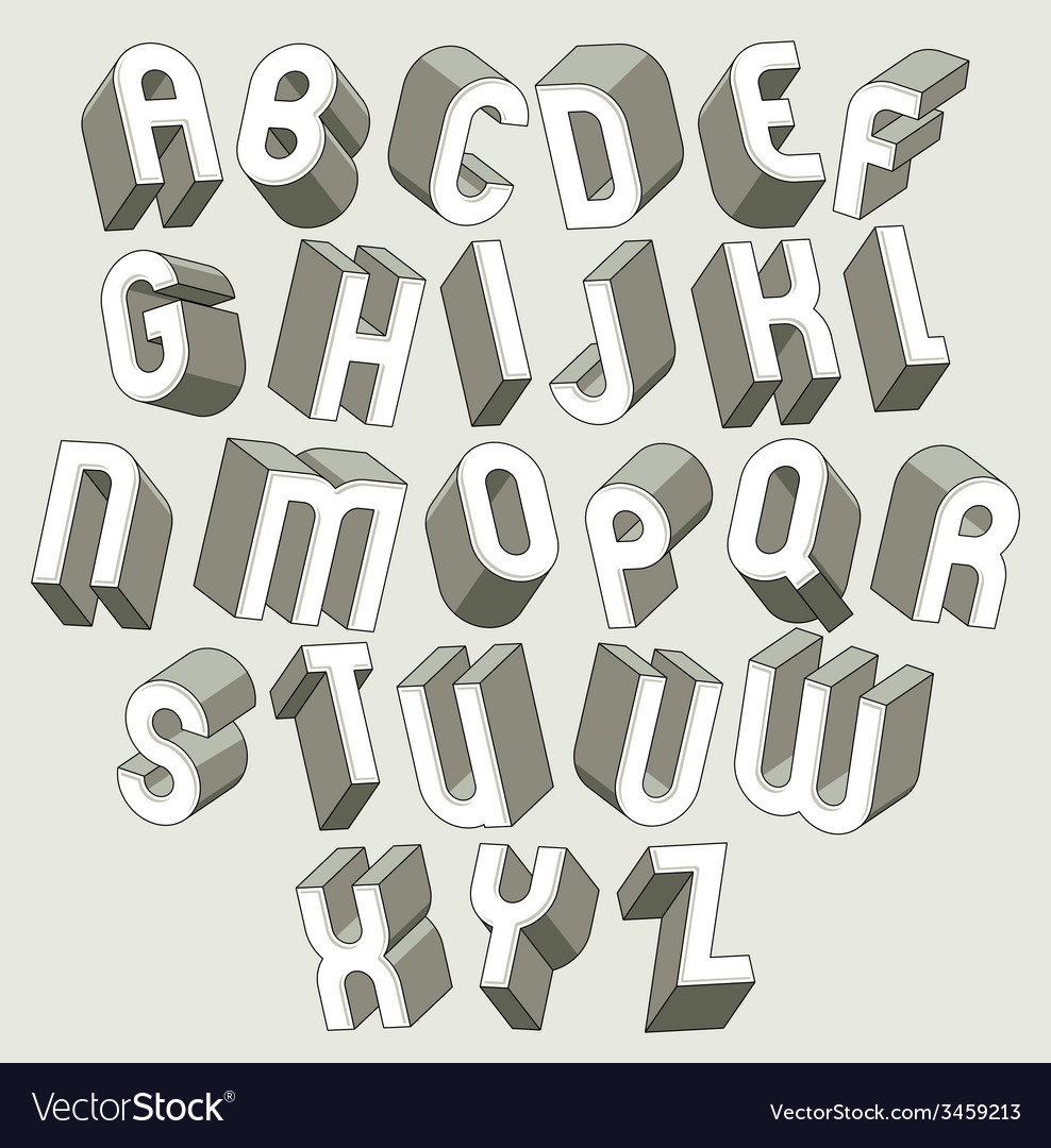 Bold and heavy 3d letters set dimensional font vector | Price: 1 Credit (USD $1)