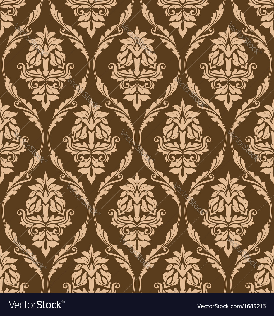 Brown floral seamless pattern vector | Price: 1 Credit (USD $1)
