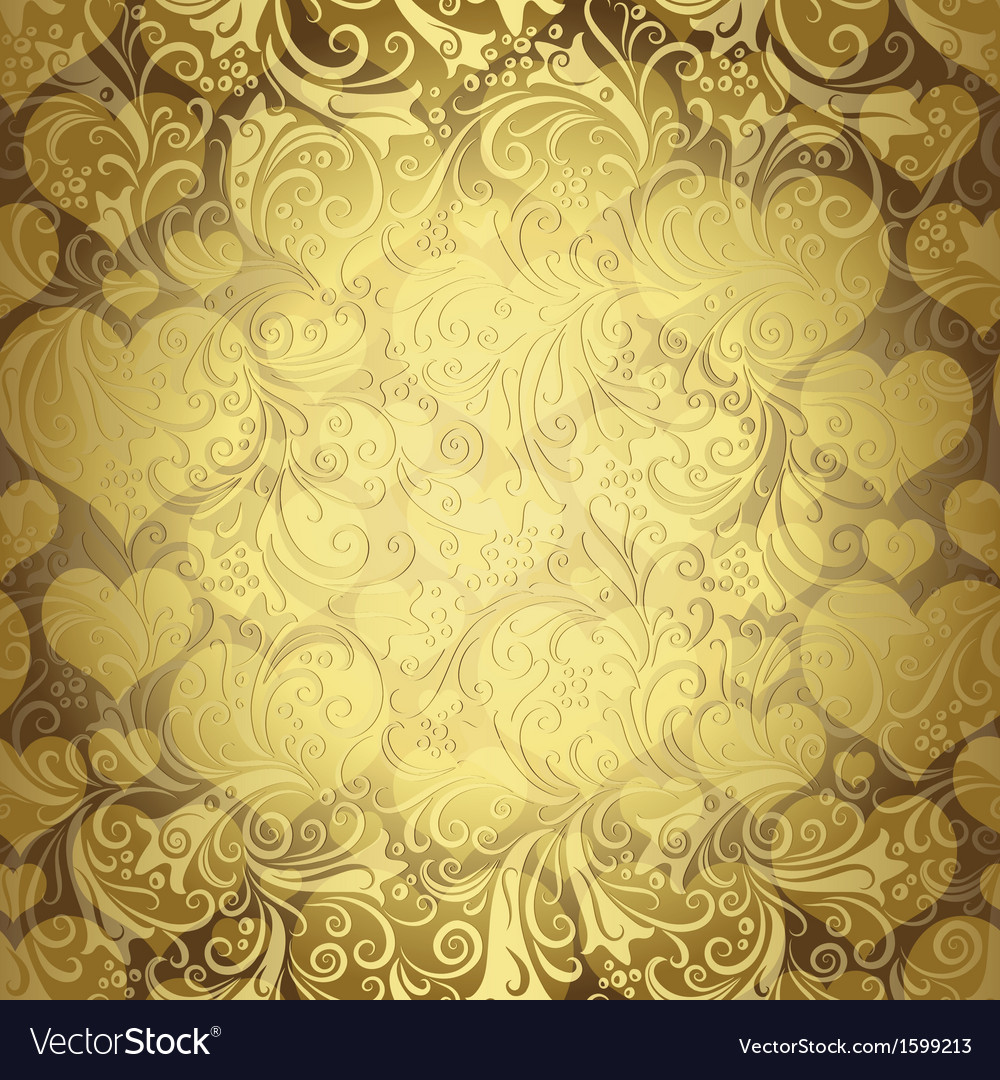 Gold seamless valentine pattern vector | Price: 1 Credit (USD $1)