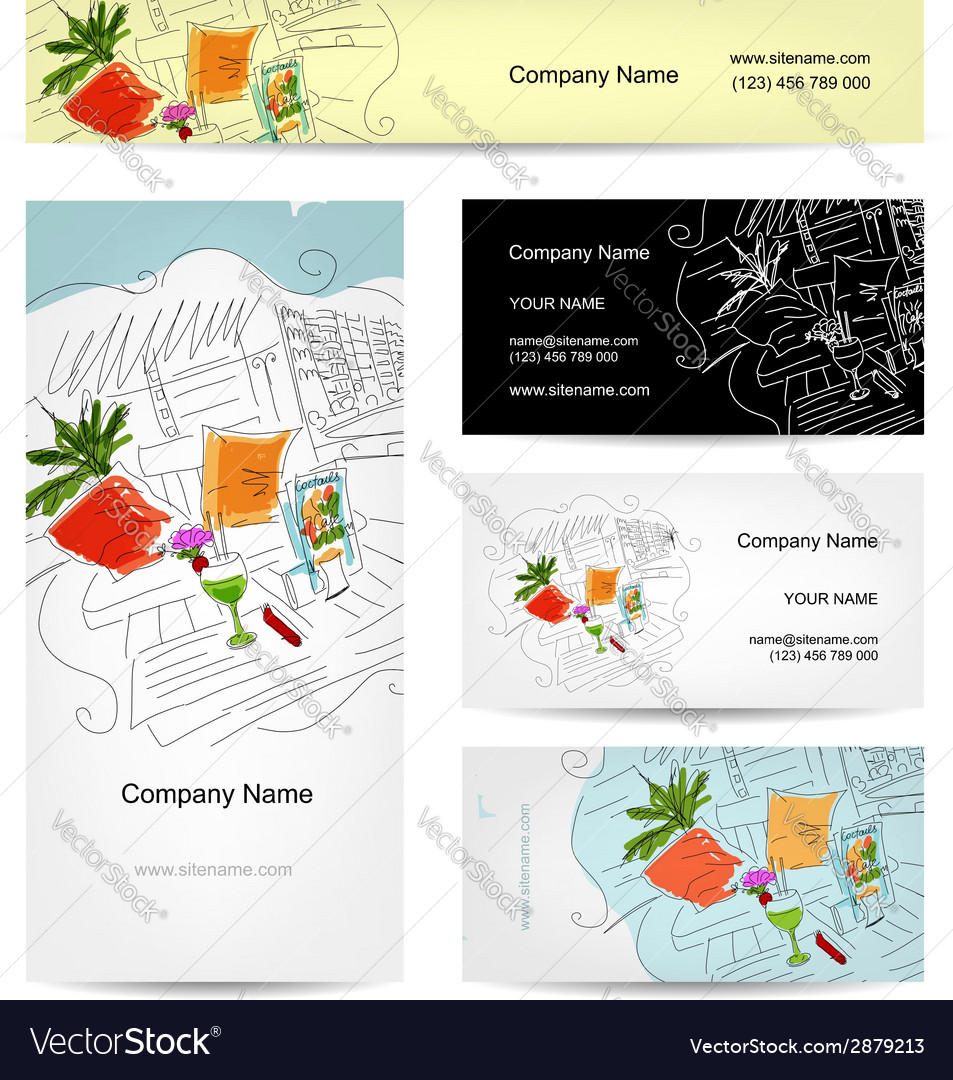 Set of business cards design cocktail in beach vector | Price: 1 Credit (USD $1)